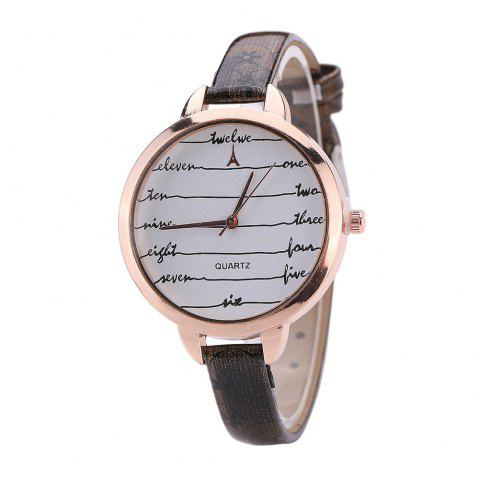 Khorasan Fashionable Simple Leather band Ladies Watch - BLACK