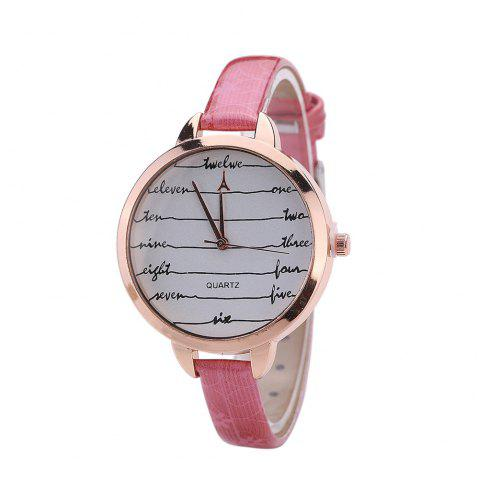 Khorasan Fashionable Simple Leather band Ladies Watch - ROSE RED