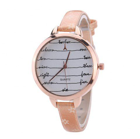 Khorasan Fashionable Simple Leather band Ladies Watch - BEIGE/RED