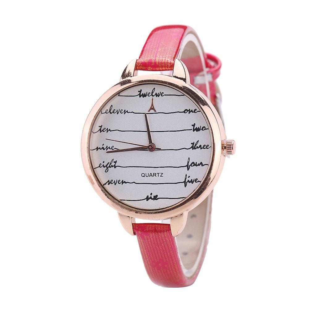 Khorasan Fashionable Simple Leather band Ladies Watch - RED