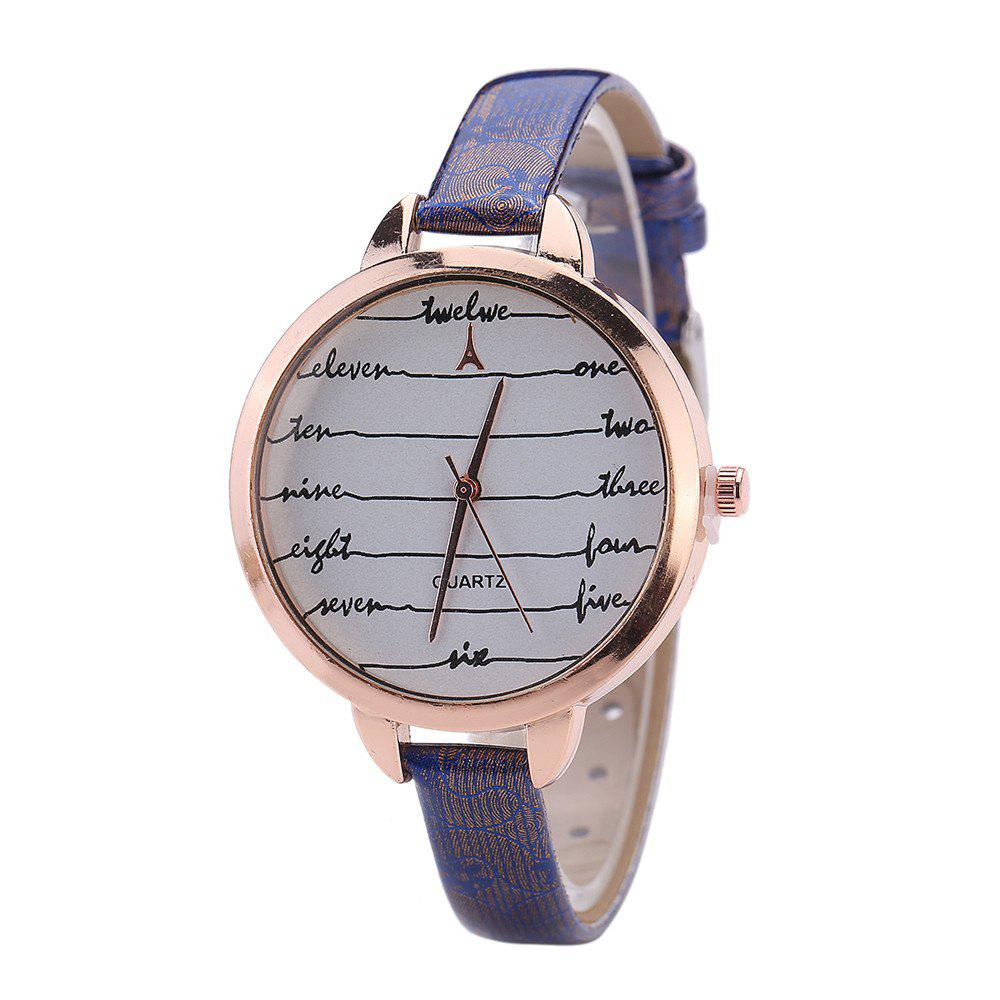 Khorasan Fashionable Simple Leather band Ladies Watch - BLUE