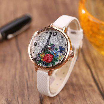 Khorasan The Eiffel Tower Pattern Leisure Band Quartz Watch - WHITE