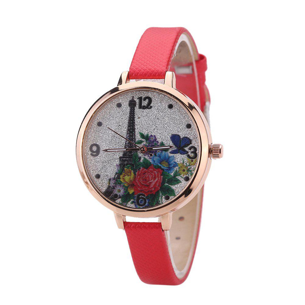 Khorasan The Eiffel Tower Pattern Leisure Band Quartz Watch - RED
