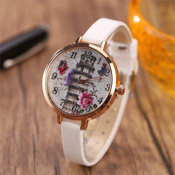 Khorasan The Leaning Tower of Pisa Pattern Personality Quartz Watch - WHITE