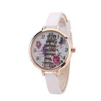 Khorasan The Leaning Tower of Pisa Pattern Personality Quartz Watch - WHITE WHITE