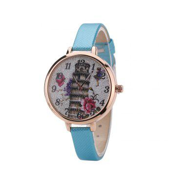 Khorasan The Leaning Tower of Pisa Pattern Personality Quartz Watch - AZURE AZURE