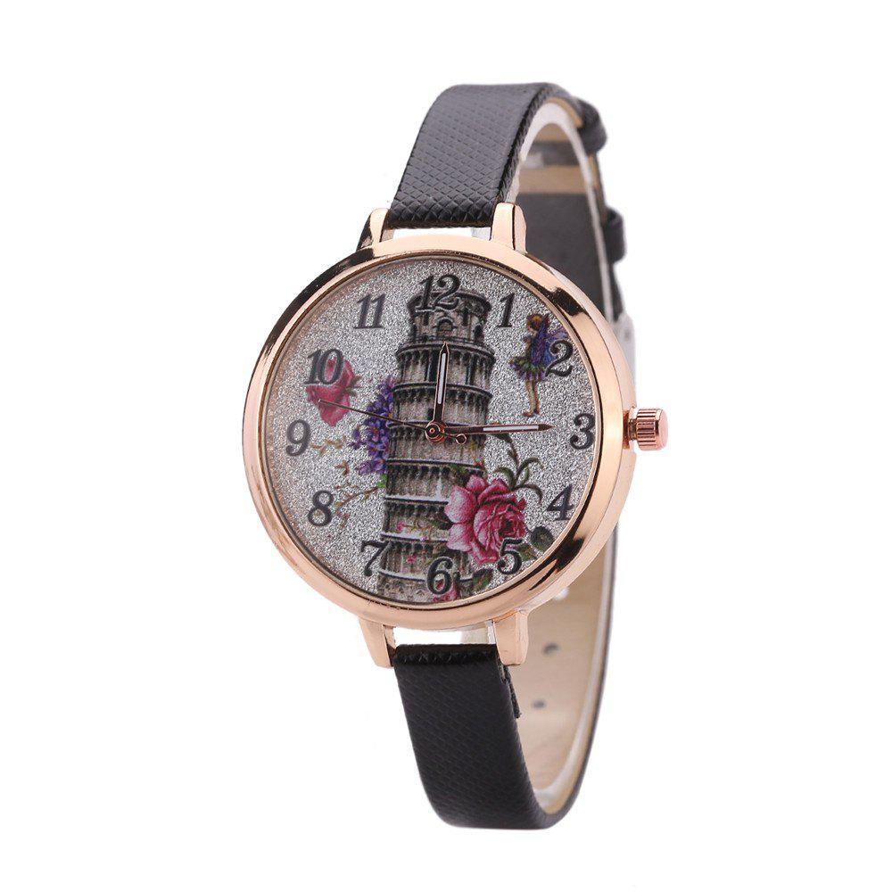Khorasan The Leaning Tower of Pisa Pattern Personality Quartz Watch - BLACK