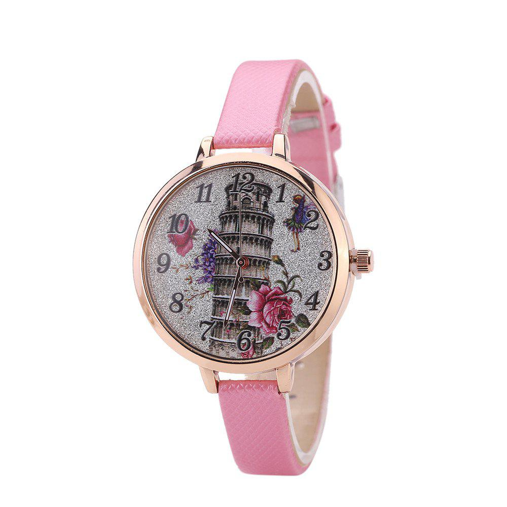 Khorasan The Leaning Tower of Pisa Pattern Personality Quartz Watch - PINK