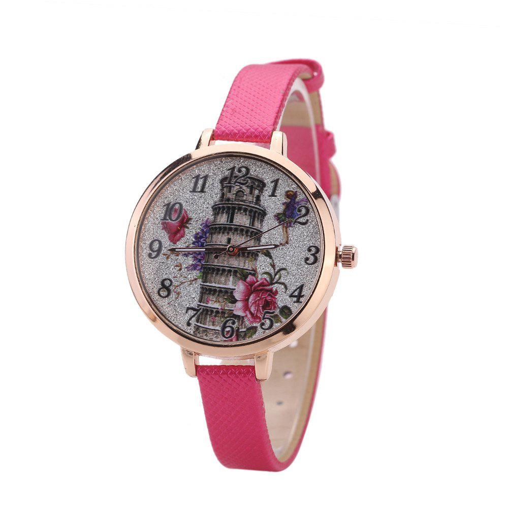 Khorasan The Leaning Tower of Pisa Pattern Personality Quartz Watch - ROSE RED