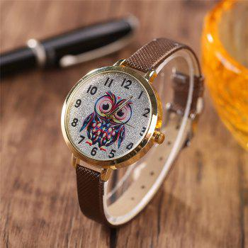 Khorasan Big Eye Owl Student Cartoon Female Fine Strap Watch -  BROWN