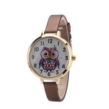 Khorasan Big Eye Owl Student Cartoon Female Fine Strap Watch - BROWN BROWN