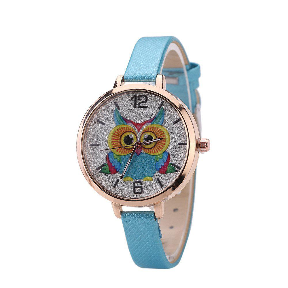 Khorasan Cartoon Owl Student Female Style Quartz Watch - AZURE