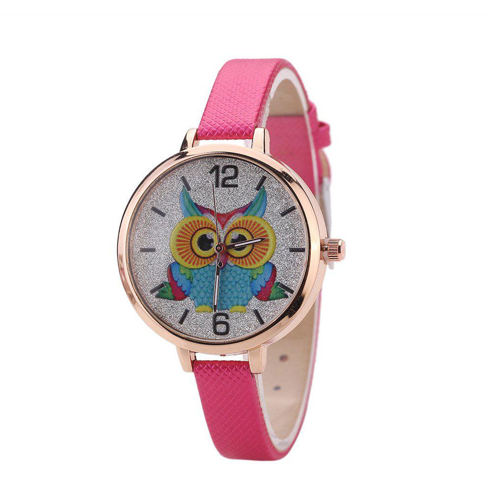 Khorasan Cartoon Owl Student Female Style Quartz Watch - ROSE RED