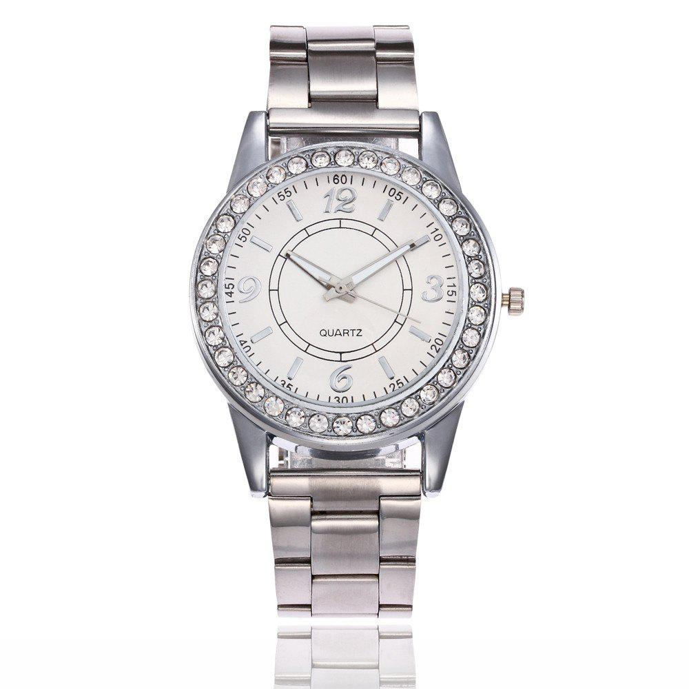 Khorasan Alloy Steel Quartz Watch with Rhinestone - SILVER