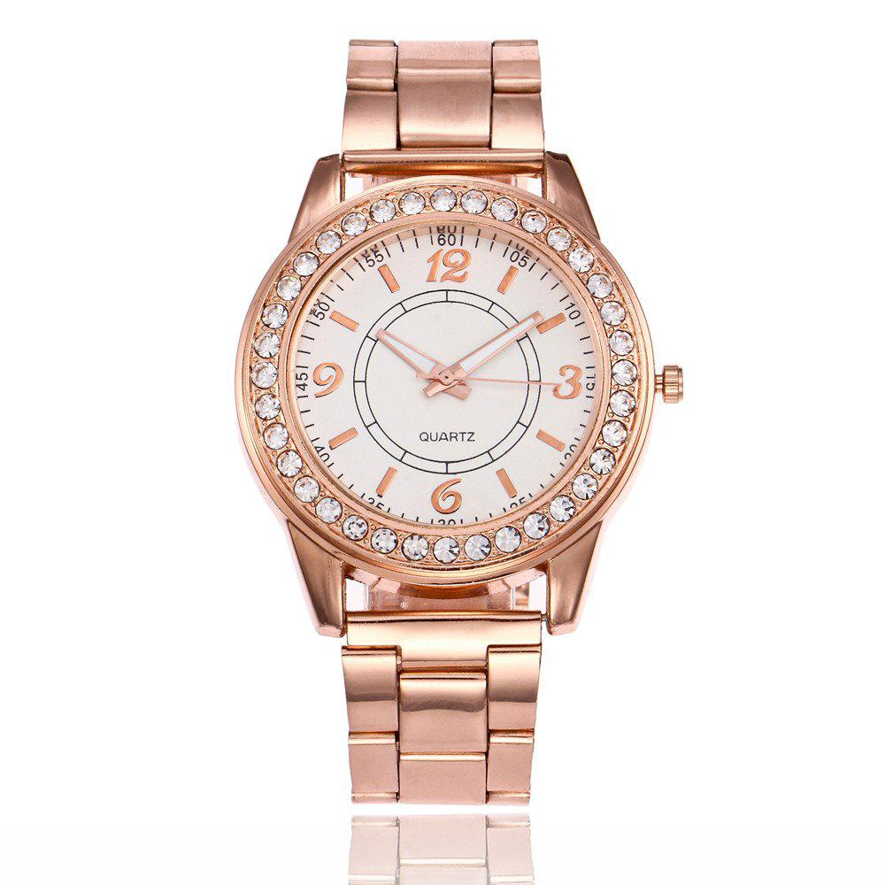 Khorasan Alloy Steel Quartz Watch with Rhinestone - ROSE GOLD