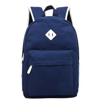 1Pc Canvas Shoulder Backpack Travel Bags Computer Bag - BLUE BLUE