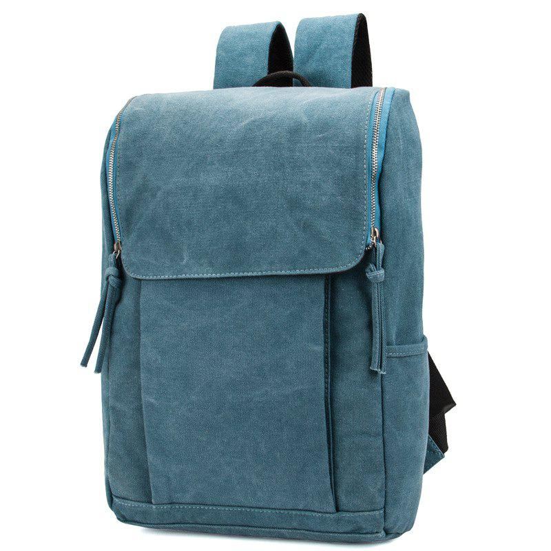 1Pc Canvas Backpack Computer School Wind High School Bag - BLUE