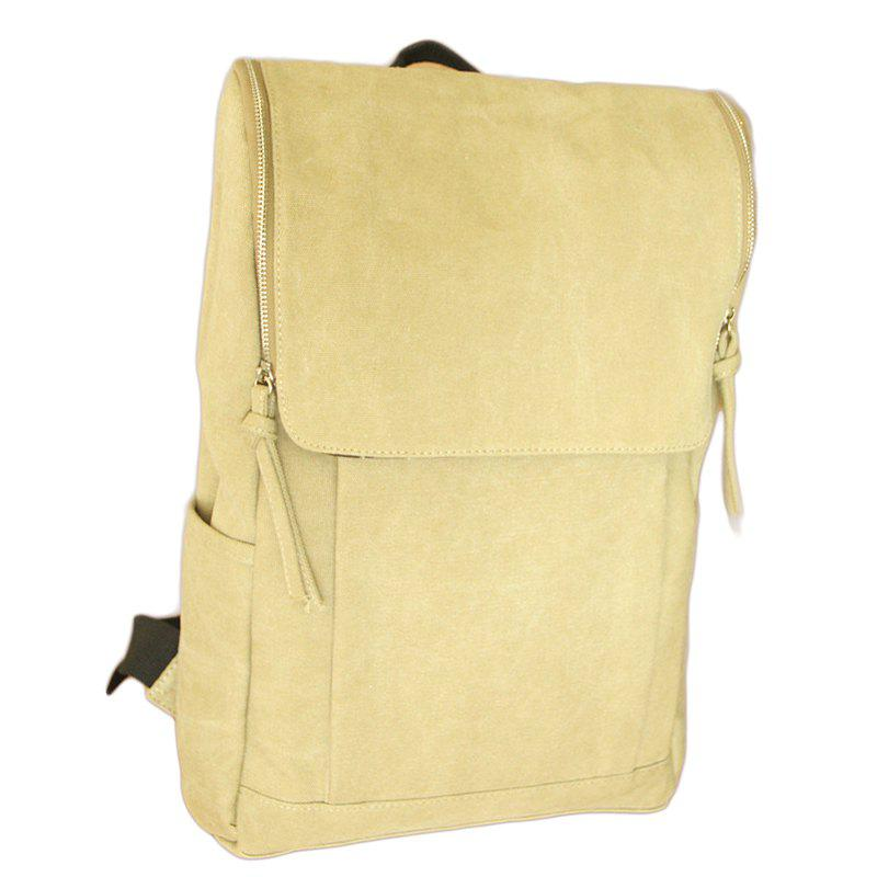 1Pc Canvas Backpack Computer School Wind High School Bag - KHAKI