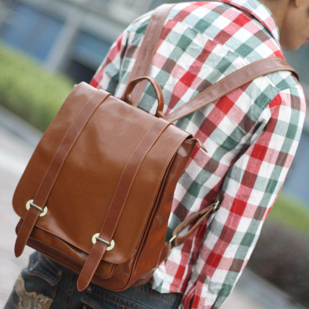 1Pc Leather Backpack Men'S School Bags - BROWN