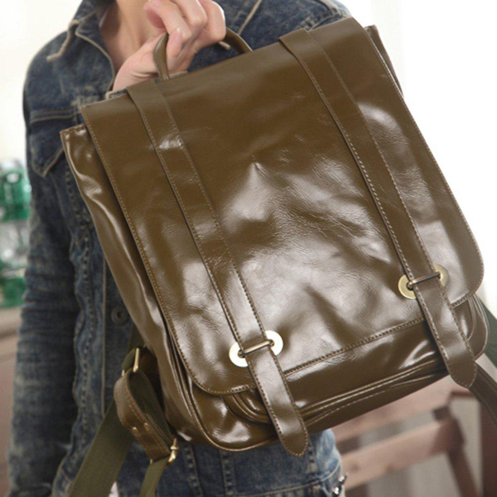 1Pc Leather Backpack Men'S School Bags - ARMYGREEN