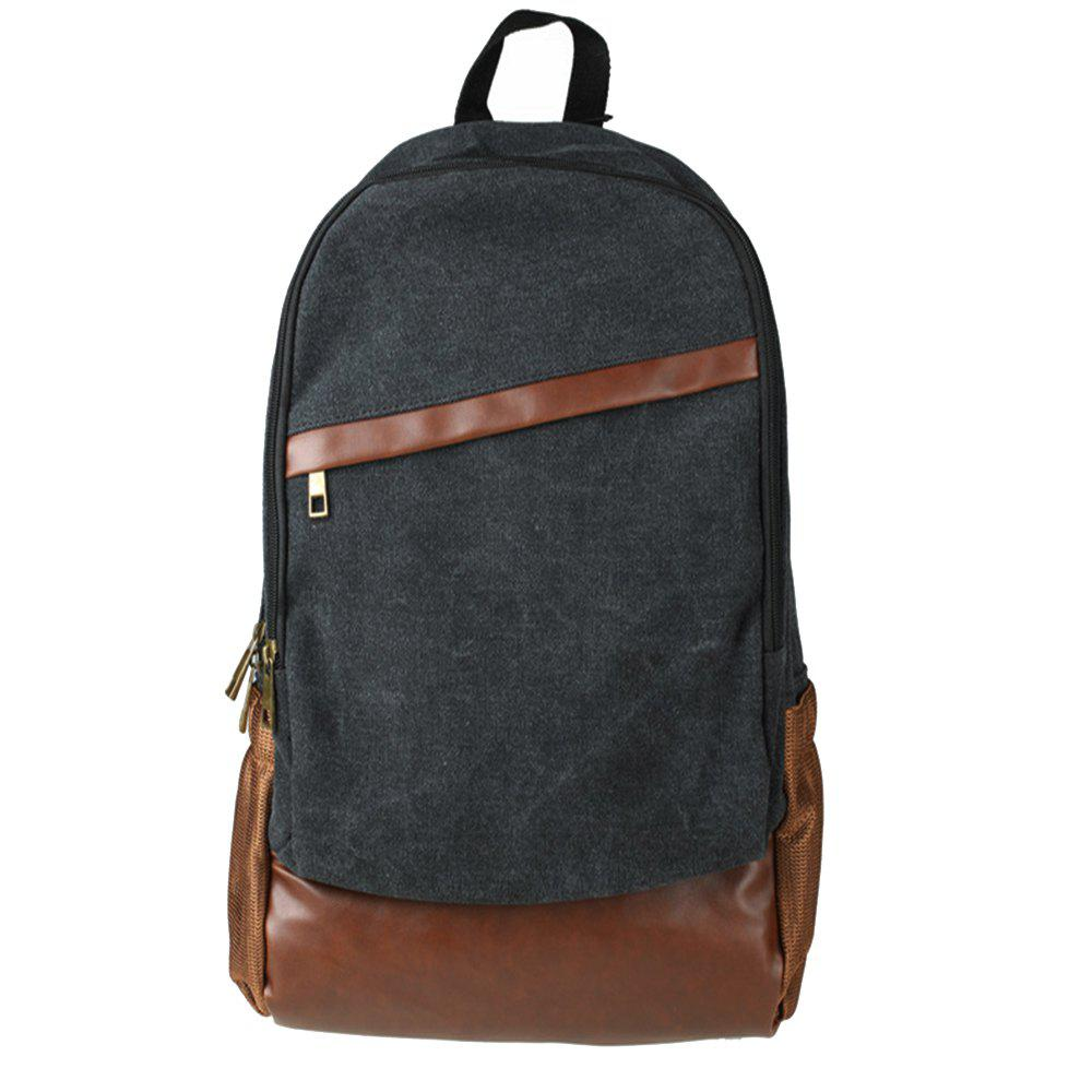 1Pc Canvas Backpack Travel Shoulder Bag School Bags - BLACK
