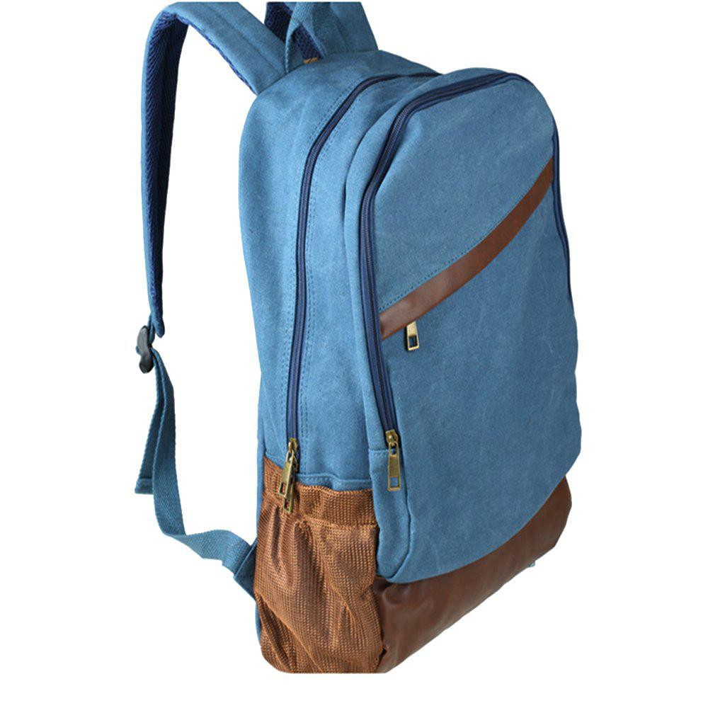 1Pc Canvas Backpack Travel Shoulder Bag School Bags - BLUE