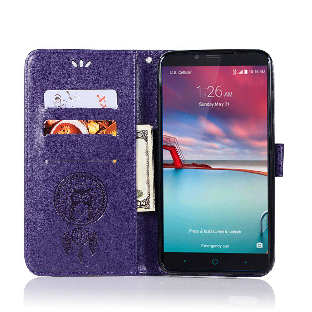 Owl Campanula Fashion Wallet Cover For ZTE Z981 / Zmax Pro Case PU luxury Retro Flip Leather Case Phone Bag With Stand - DAHLIA