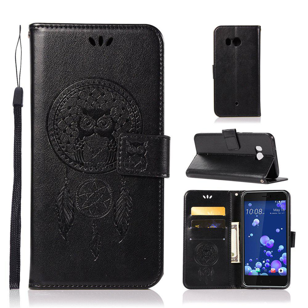 Owl Campanula Fashion Wallet Cover For HTC U11 Case 5.5 Inch PU luxury Retro Flip Leather Case Phone Bag With Stand - BLACK