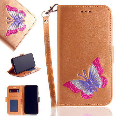 Hand-painted Butterfly Fashion Wallet Case For IPhone X Case PU luxury Flip Leather Case Phone Bag With Stand - GOLDEN