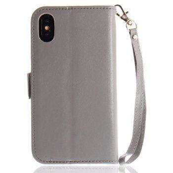 Hand-painted Butterfly Fashion Wallet Case For IPhone X Case PU luxury Flip Leather Case Phone Bag With Stand - GRAY