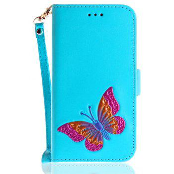 Hand-painted Butterfly Fashion Wallet Case For IPhone X Case PU luxury Flip Leather Case Phone Bag With Stand - WINDSOR BLUE