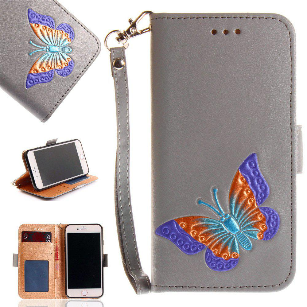 Papillon peint à la main de la mode Wallet Case pour IPhone 8 cas PU luxe Flip cuir Case Phone Bag avec support - gris