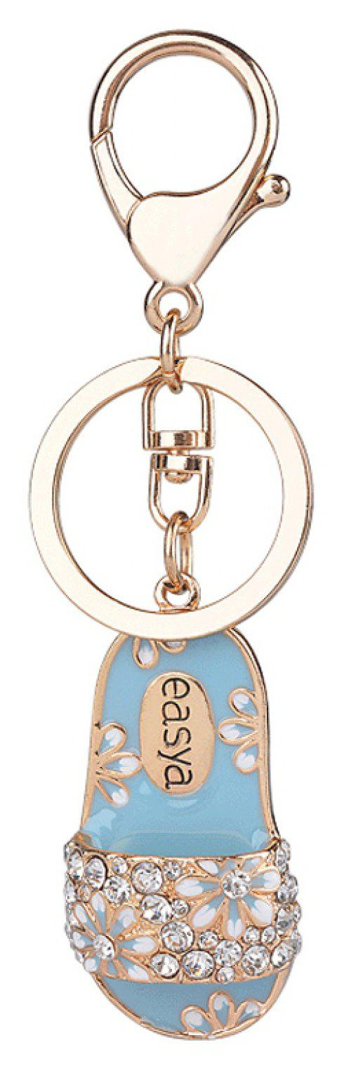 Creative Slippers Alloy Keys Keychain Girl Pendant Ornaments Small Gifts - BLUE