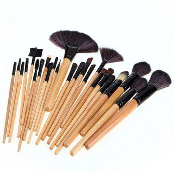 24 Pieces Makeup Brush Set - WOOD