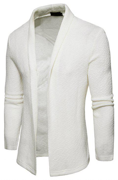 The New Spring Fashion Men Polo Shawl Knitted Cardigan Sweater - WHITE XL