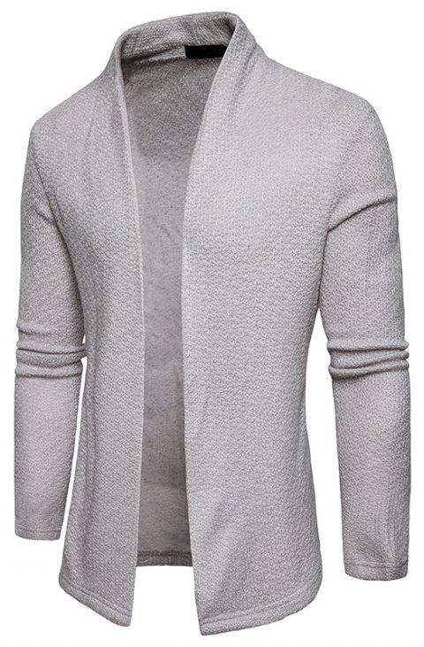 The New Spring Fashion Men Polo Shawl Knitted Cardigan Sweater - LIGHT GRAY S