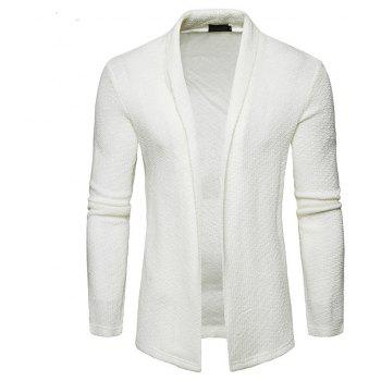 The New Spring Fashion Men Polo Shawl Knitted Cardigan Sweater - WHITE M