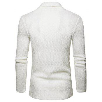 The New Spring Fashion Men Polo Shawl Knitted Cardigan Sweater - WHITE L