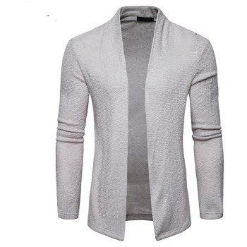 The New Spring Fashion Men Polo Shawl Knitted Cardigan Sweater - LIGHT GRAY L
