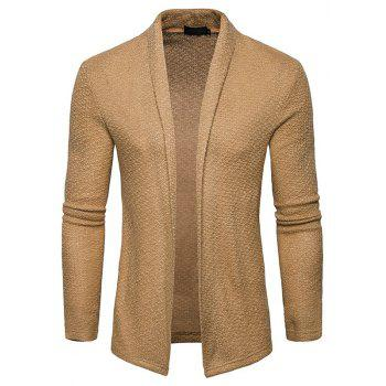 The New Spring Fashion Men Polo Shawl Knitted Cardigan Sweater - KHAKI S