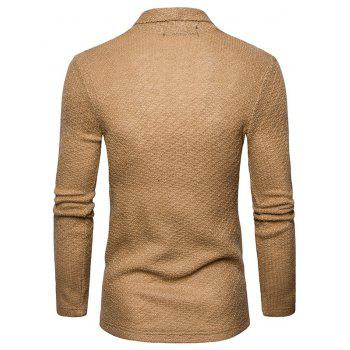 The New Spring Fashion Men Polo Shawl Knitted Cardigan Sweater - KHAKI XL