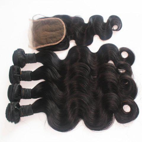 Body Wave 100 Percent Brazilian Human Virgin Hair Weave 3pcs with One Piece Lace Closure - NATURAL COLOR 12INCH*12INCH*12INCH*CLOSURE 10INCH