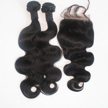 Body Wave 100 Percent Brazilian Human Virgin Hair Weave 3pcs with One Piece Lace Closure - NATURAL COLOR 16INCH*18INCH*20INCH*CLOSURE 14INCH