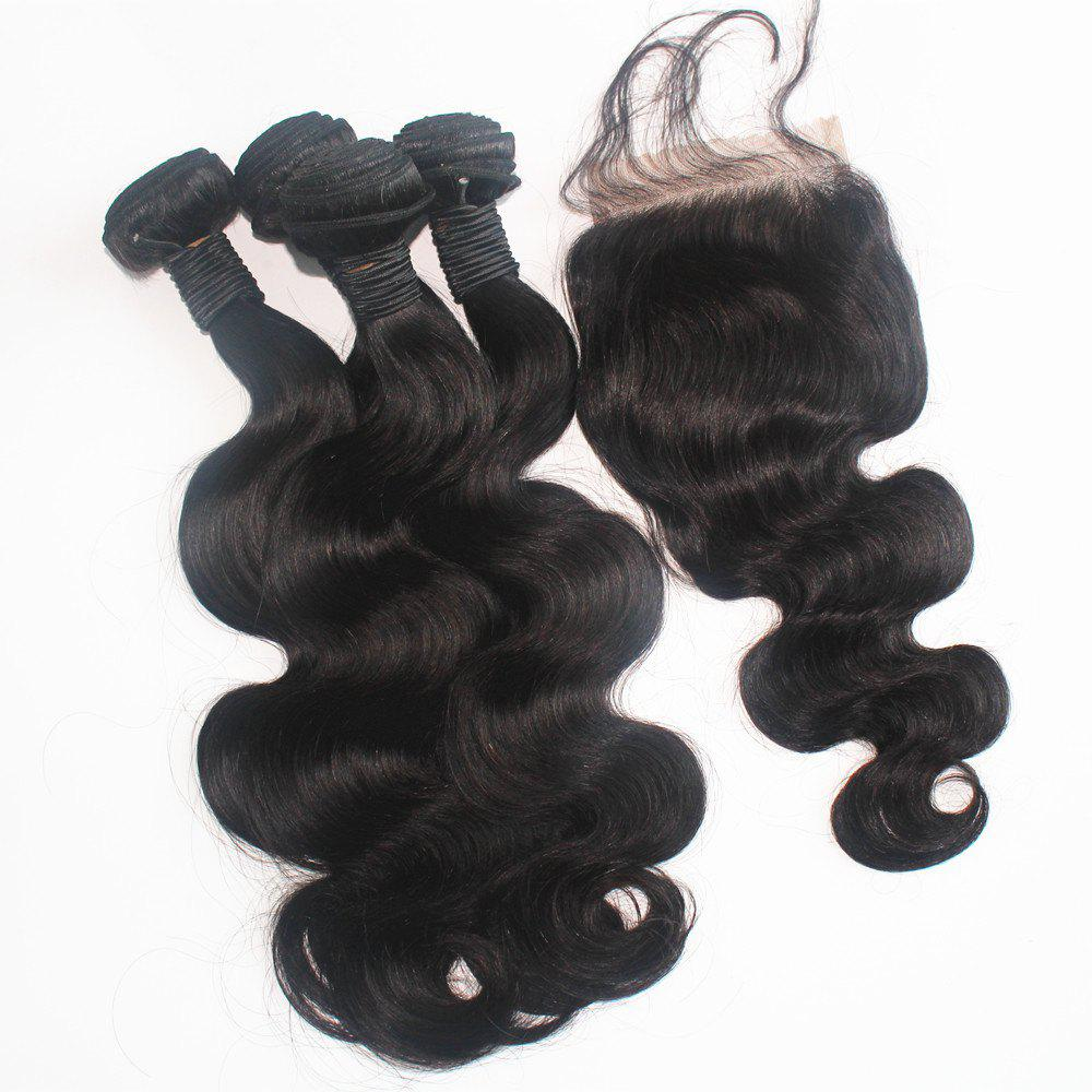 Body Wave 100 Percent Brazilian Human Virgin Hair Weave 3pcs with One Piece Lace Closure - NATURAL COLOR 18INCH*20INCH*22INCH*CLOSURE 16INCH