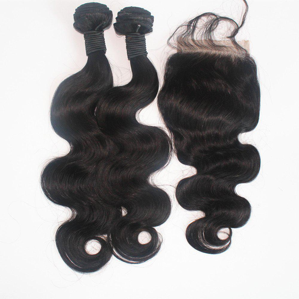 Body Wave 100 Percent Brazilian Human Virgin Hair Weave 3pcs with One Piece Lace Closure - NATURAL COLOR 14INCH*14INCH*14INCH*CLOSURE 12INCH