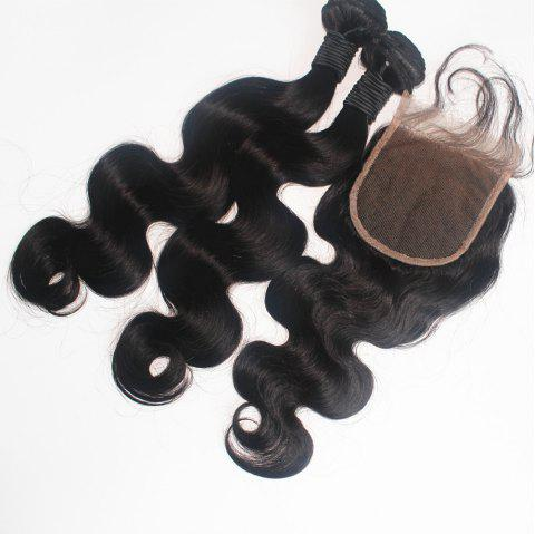 Body Wave Brazilian Human Virgin Hair Weave 2pcs with One Piece Lace Closure - NATURAL COLOR 18INCH*18INCH*CLOSURE 16INCH