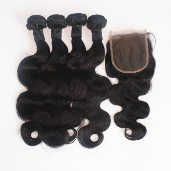 Body Wave Brazilian Human Virgin Hair Weave 2pcs with One Piece Lace Closure - NATURAL COLOR 12INCH*14INCH*CLOSURE 10INCH