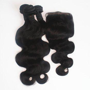 Body Wave Brazilian Human Virgin Hair Weave 2pcs with One Piece Lace Closure - NATURAL COLOR 16INCH*16INCH*CLOSURE 14INCH