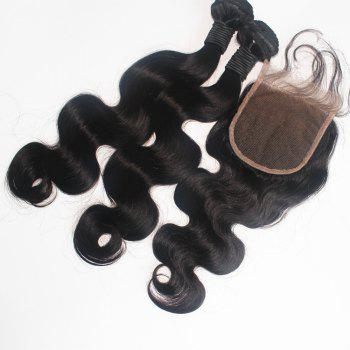 Body Wave Brazilian Human Virgin Hair Weave 2pcs with One Piece Lace Closure - NATURAL COLOR NATURAL COLOR