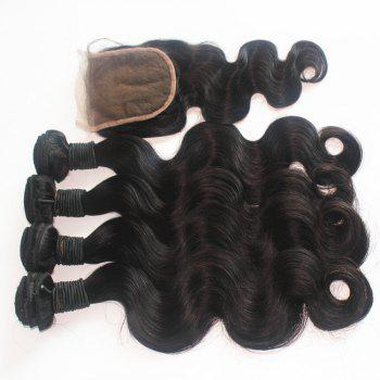 Body Wave Brazilian Human Virgin Hair Weave 4pcs with One Piece Lace Closure - NATURAL COLOR 14INCH*16INCH*18INCH*20INCH*CLOSURE 12INCH